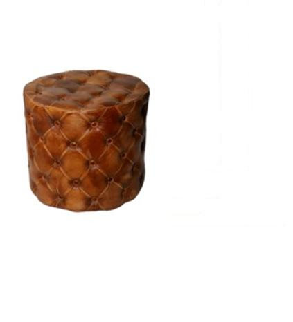 WOODEN LEATHER ROUND PUFF