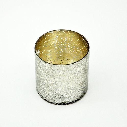 "3.5"" SILVER FOIL GLASS CANDLEHOLDER"