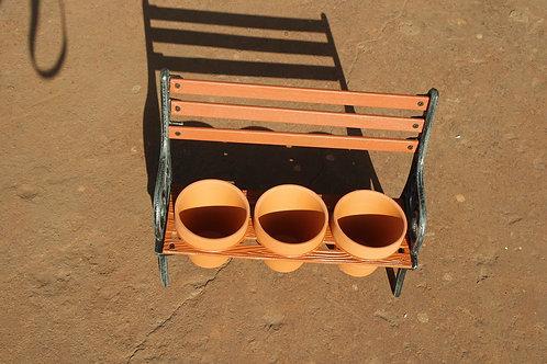 CAST IRON TRIPLE PLANT POT HOLDER 2parts