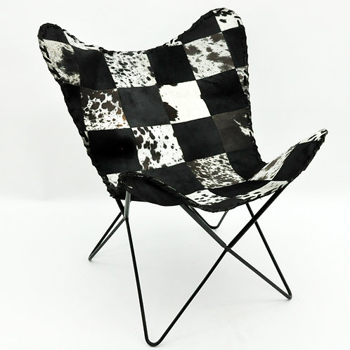 BLACK AND WHITE COW-HIDE BUTTERFLY CHAIR