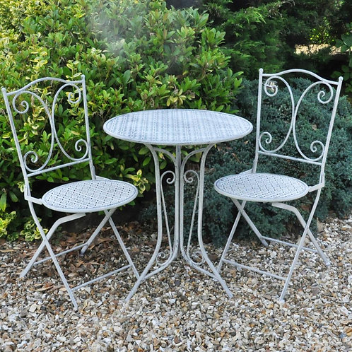 74CM LEAD COLOUR ROUND TABLE AND 2 CHAIRS