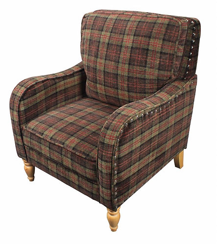 MOSS CHECK FABRIC ARM CHAIR