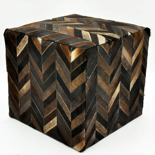 BROWN COW-HIDE POUF 45x45x45cm