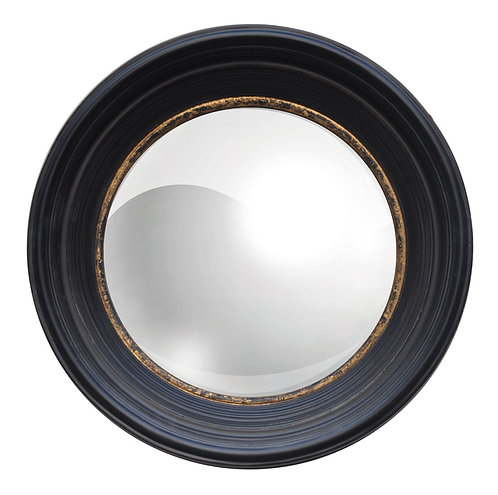 19X19CM RUSTY BLACK/GOLD FR CONVEX MIRROR