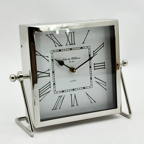 NICKEL FINISH TABLE CLOCK 29x21x4cm