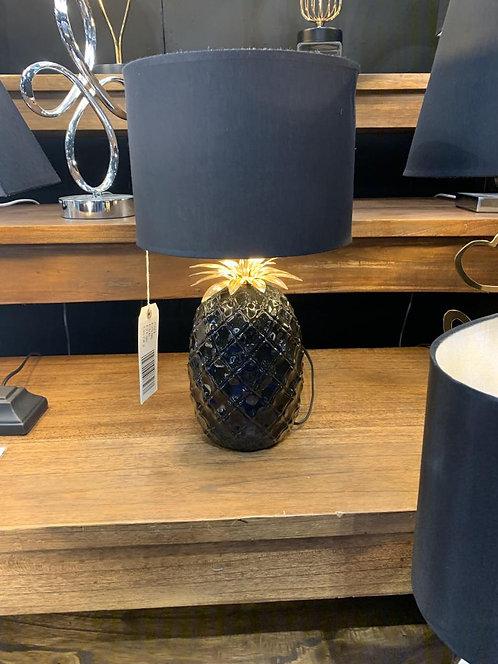 39CM GOLD BASE LAMP AND BLACK SHADE