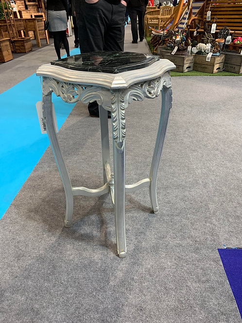 SILVER COFFEE TABLE WITH MARBLE TOP