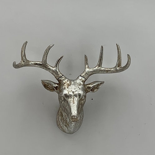 29CM ANTIQUE SILVER DEER HEAD