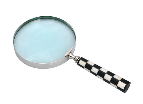 "4"" NICKEL BLACK & WHITE MAGNIFYING GLASS"
