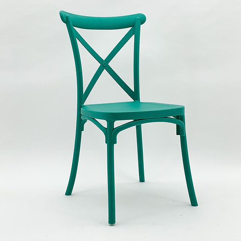 GREEN PLASTIC FRENCH CROSS BACK CHAIR