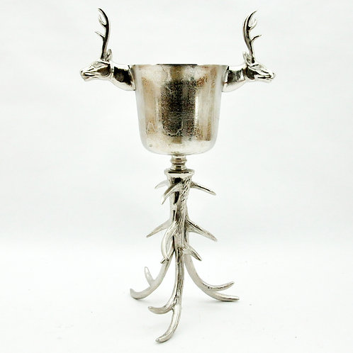 "26"" STAG HEAD ICE BUCKET ON ANTLER BASE"