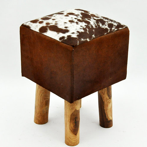 TAN AND WHITE COW-HIDE STOOL 45x30x30cm