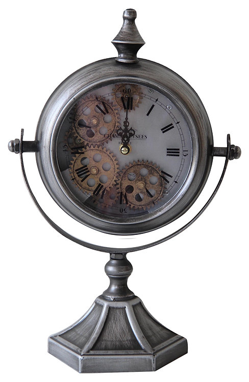 37.5CM SILVER TABLE CLOCK
