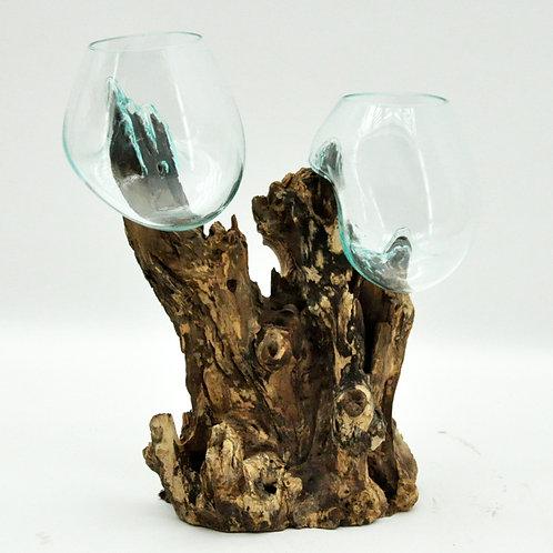 #7 M DOUBLE TEAK ROOT BLOWN GLASS