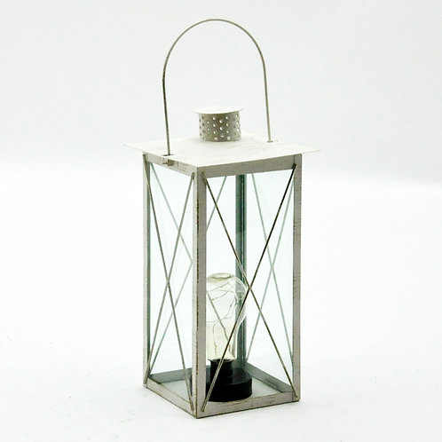 35cm SQUARE CREAM LANTERN WITH BULB