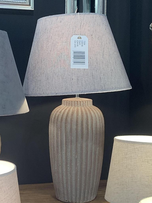 48CM RUSTIC LAMP AND GREY LINEN SHADE