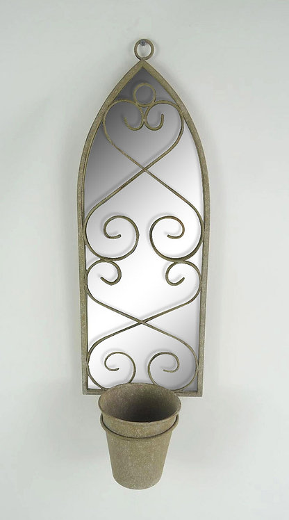 56CM RUSTY WALL MIRROR WITH PLANTER