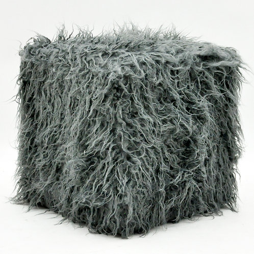 38CM DARK GREY FLUFFY FOOTSTOOLS