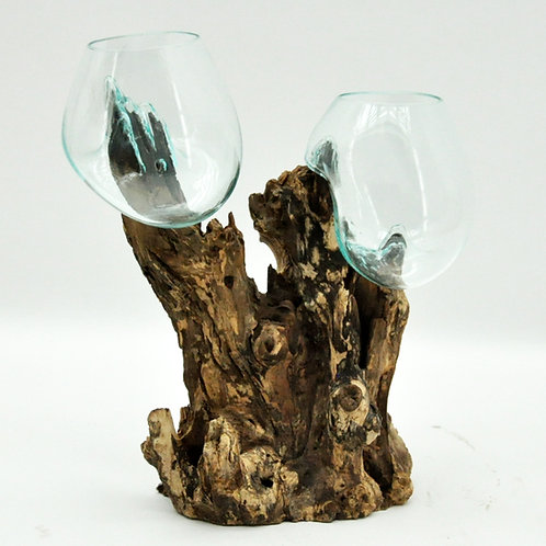 #7 M DOUBLE TEAK ROOT BLOWN GLASS