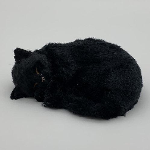 "12""SLEEPING CAT BLACK COLOUR PLUSH FABRIC"