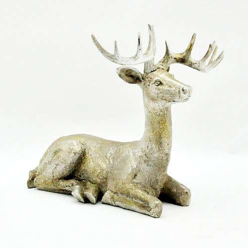 21ins GOLD SPARKLE SITTING STAG