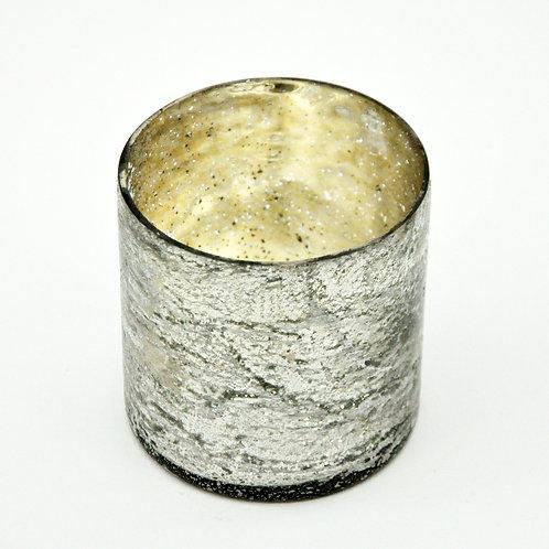 "4.5"" SILVER FOIL GLASS CANDLEHOLDER"