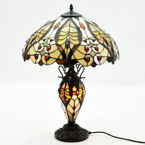 "18""SHADE  CREAM/RED DOUBLE TIFFANY LAMP"