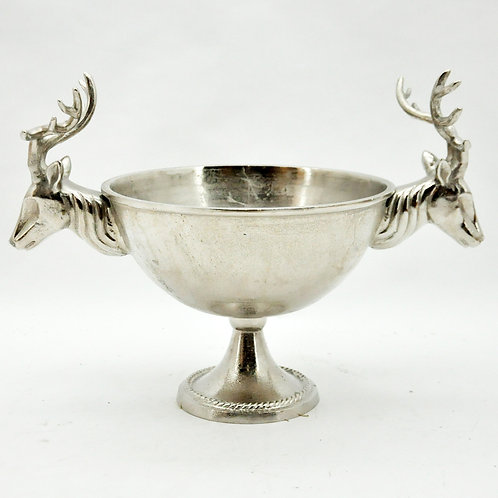 "20"" CHAMPAGNE BOWL WITH STAG HEAD HANDLES"