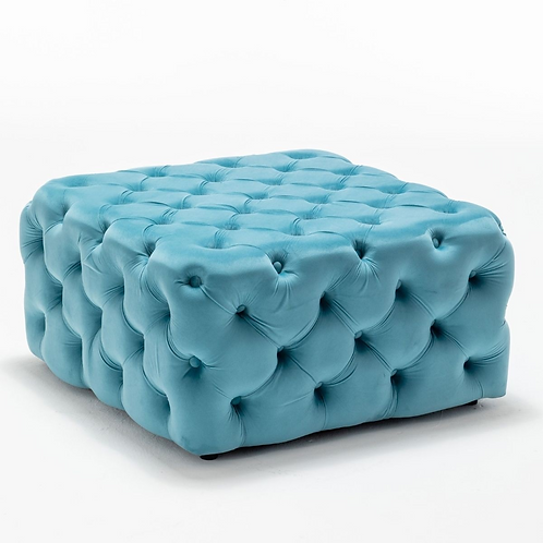 80X80CM BLUE BUTTONED SQUARE FOOTSTOOL