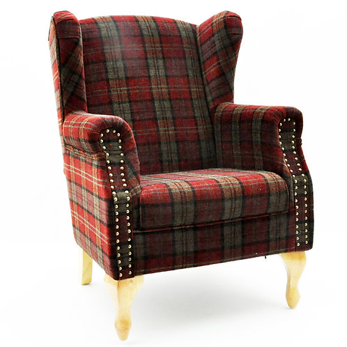 CLARET CHECK FABRIC ARM CHAIR