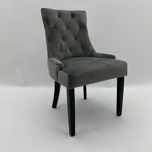 GREY VELVET DINING CHAIR 91x56x66cm