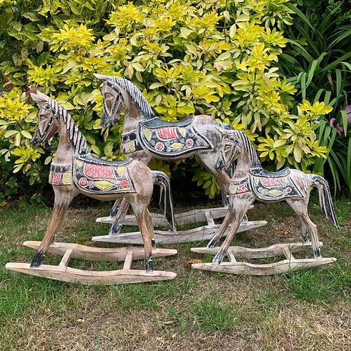 50CM/40CM/30CM SET 3 WHITE ROCKING HORSE