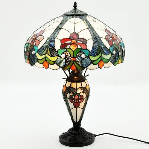 "18"" SHADE MULTI COLOUR DOUBLE TIFFANY LAMP"