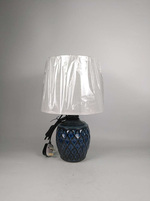 40CM BLUE CERAMIC LAMP AND SHADE
