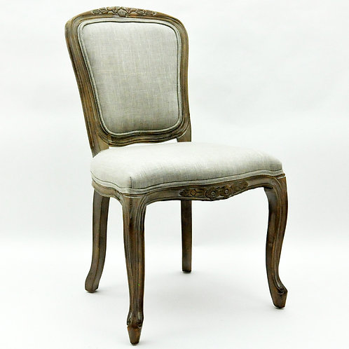 NATURAL FR TAUPE FABRIC LOUIS CHAIR