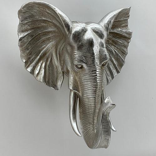 55CM ANTIQUE SILVER ELEPHANT HEAD