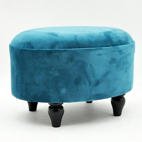 BLUE VELVET OVAL FOOTSTOOL