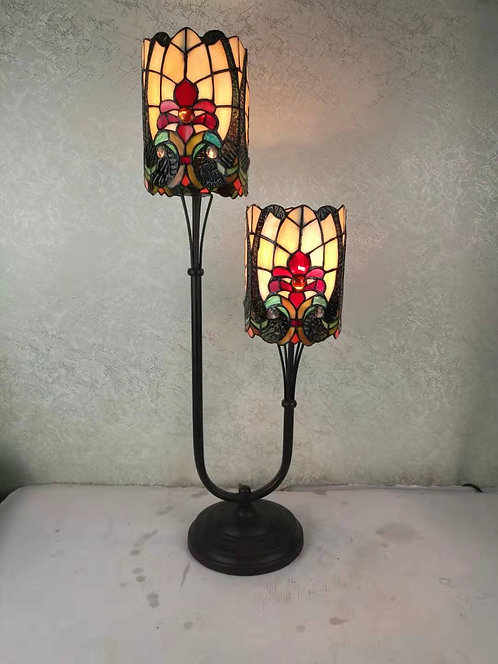 "6"" TWIN STEM TIFFANY LAMP"