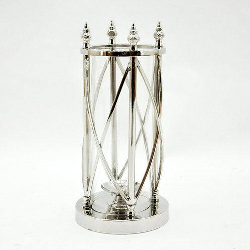 38CM NICKLE PLATED HURRICANE LAMP