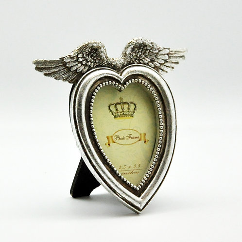 14cm ANTIQUE SILVER HEART SHAPE PHOTOFRAME