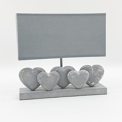 36CM GREY WASHED WOOD FIVE HEART LAMP
