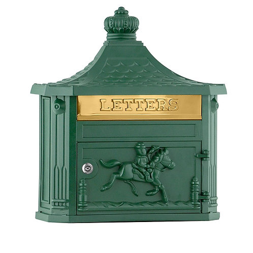 GREEN ALUMINIUM WALL MOUNTED POST BOX