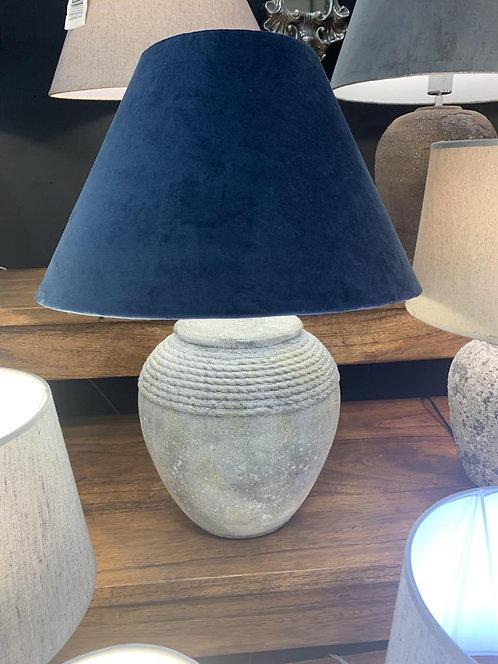37CM RUSTIC LAMP AND BLUE VELVET SHADE