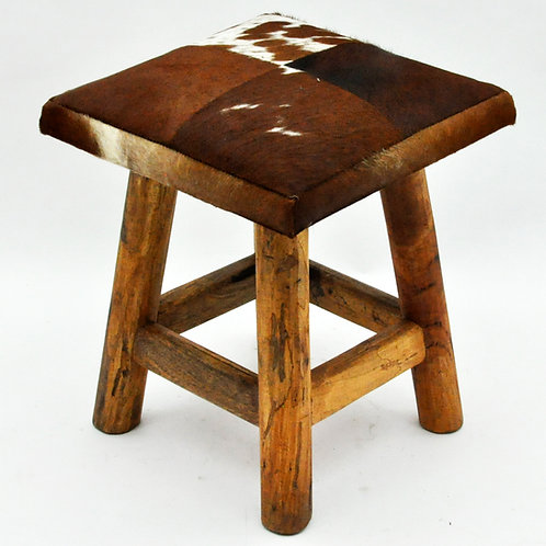 TAN AND WHITE COW-HIDE STOOL 42x36x36cm