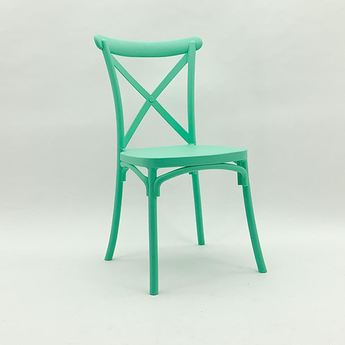 LIGHT GREEN PLASTIC FRENCH CROSS BAC CHAIR