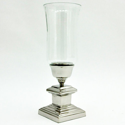 NICKEL PLATED HURRICANE CANDLE HOLDER