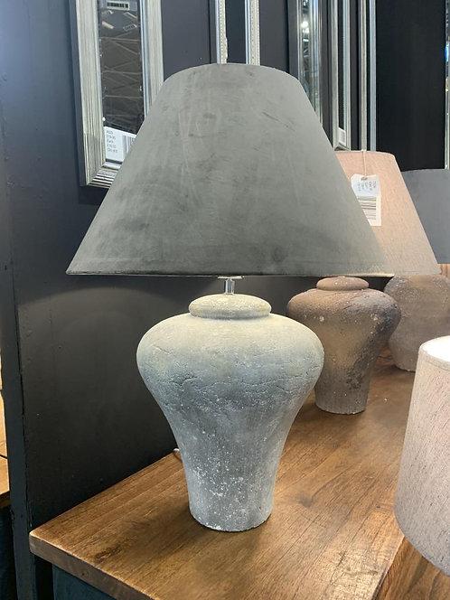 42CM RUSTIC LAMP DARK GREY VELVET SHADE