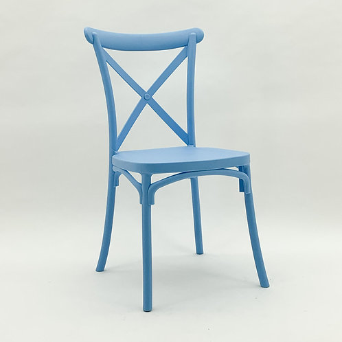 BLUE PLASTIC FRENCH CROSS BACK CHAIR