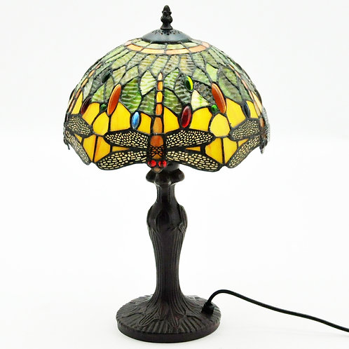 "12"" SHADE GREEN DRAGONFLY TIFFANY LAMP"