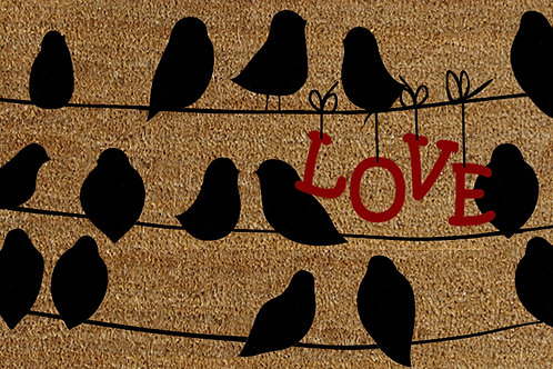 40 X 60 BLACK BIRDS ON A WIRE DOORMAT